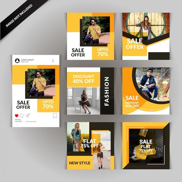 Modèle de publication de médias sociaux de photographie Vecteur Premium