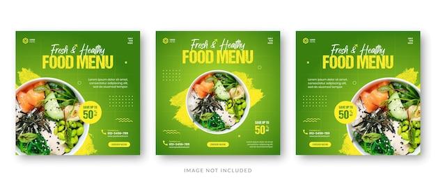 Modèle De Publication De Médias Sociaux Pour La Bannière De Promotion Du Menu Alimentaire Vecteur Premium