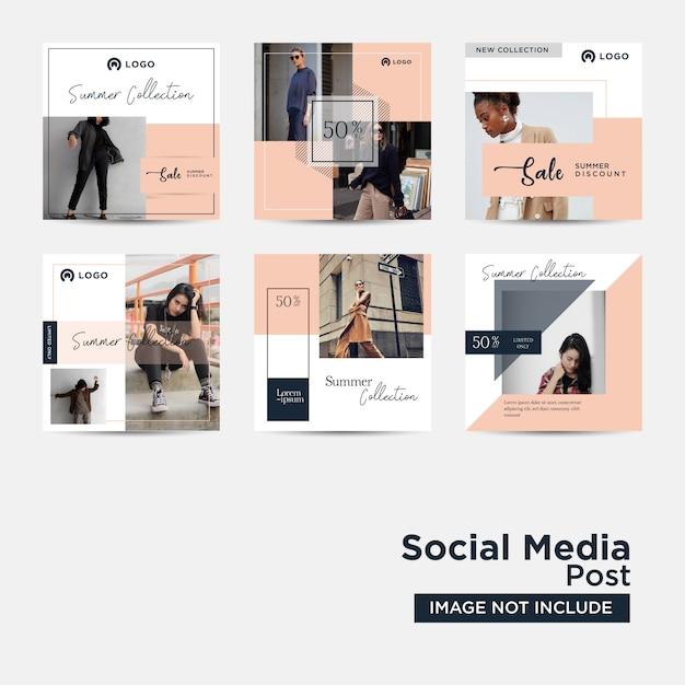 Modèle de publication sur les médias sociaux pour le marketing numérique Vecteur Premium