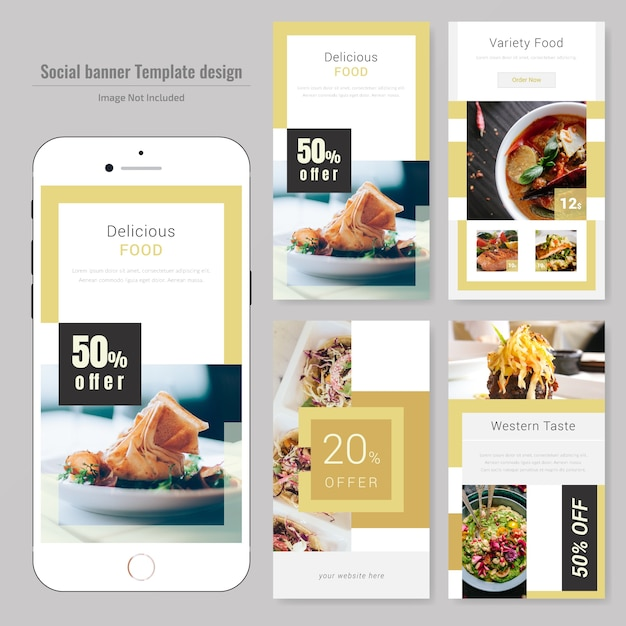 Modèle de publication de médias sociaux pour le restaurant Vecteur Premium