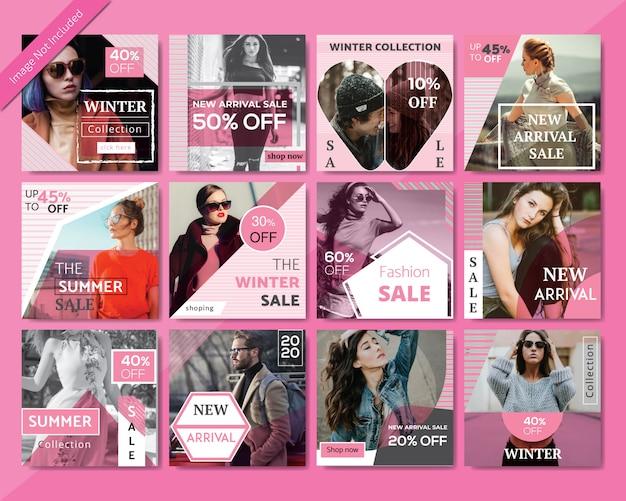 Modèle de publication de médias sociaux sur la vente de mode Vecteur Premium