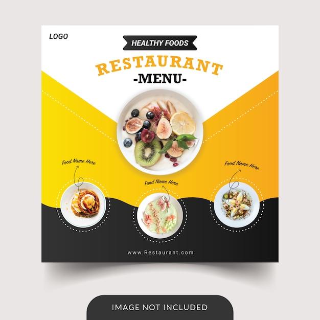 Modèle De Publication De Menu De Restaurant Sur Les Réseaux Sociaux Vecteur Premium