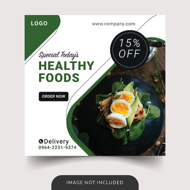 Modèle De Publication Sur Les Réseaux Sociaux Des Aliments Sains Vecteur Premium