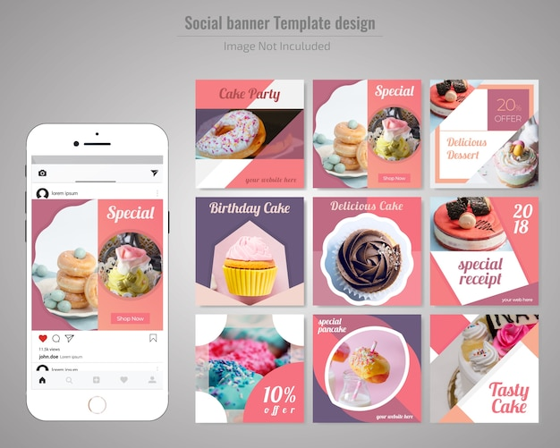 Modèle de publication sur les réseaux sociaux de gâteau Vecteur Premium