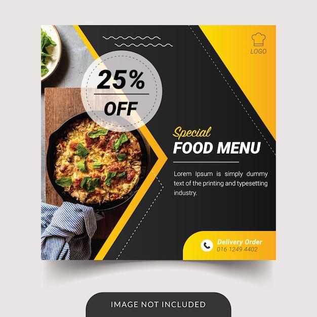 Modèle De Publication Sur Les Réseaux Sociaux De Menu Spécial De Nourriture Vecteur Premium