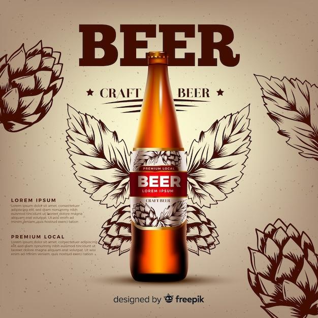 Modèle publicitaire réaliste de bière Vecteur gratuit