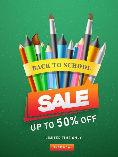 Modèle de publicité ou conception de flyer avec un crayon de couleur Vecteur Premium