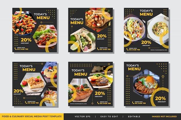 Modèle De Publicité De Médias Sociaux Alimentaires Et Culinaires Vecteur Premium