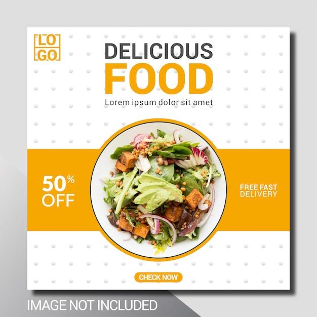 Modèle De Publicité De Médias Sociaux Culinaires Vecteur Premium