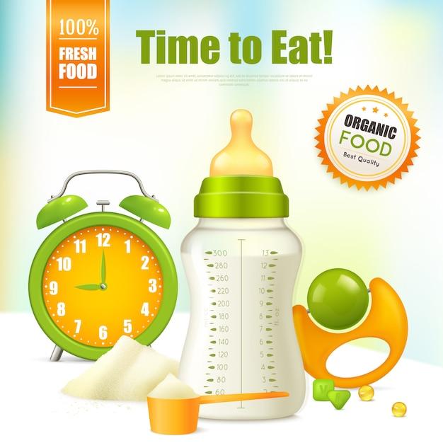 Modèle De Publicité Pour Aliments Biologiques Pour Bébés Vecteur gratuit