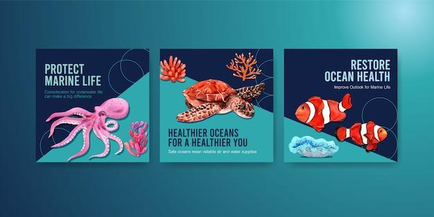 Modèle De Publicité Pour Le Concept De Protection De L'environnement De La Journée Mondiale Des Océans Avec Poulpe, Tortue, Corail Et Nemo. Vecteur gratuit