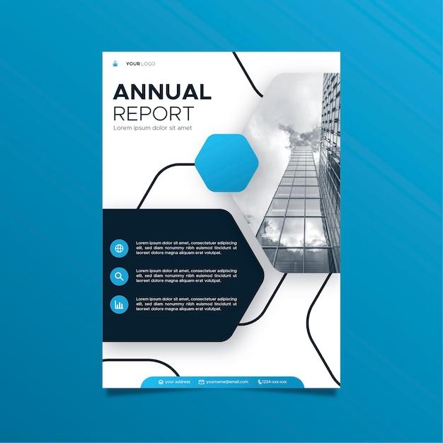 Modèle De Rapport Annuel Abstrait Avec Photo Vecteur gratuit