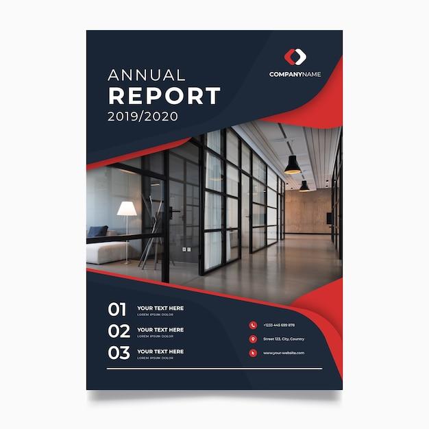Modèle De Rapport Annuel Abstrait Avec Photo Vecteur Premium