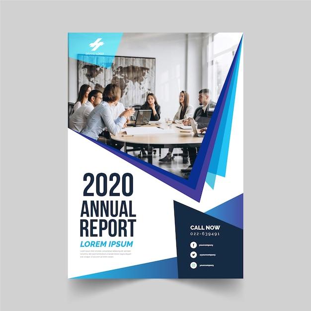Modèle De Rapport Annuel D'entreprise Avec Style Photo Vecteur gratuit