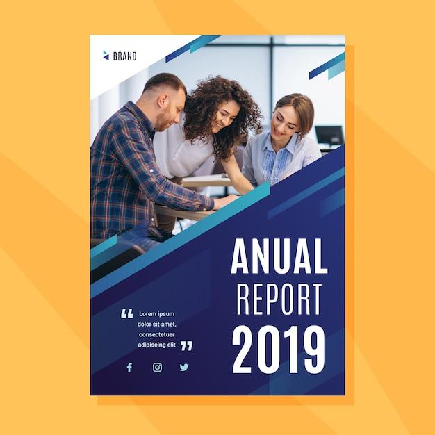 Modèle De Rapport Annuel Avec Photo Vecteur gratuit