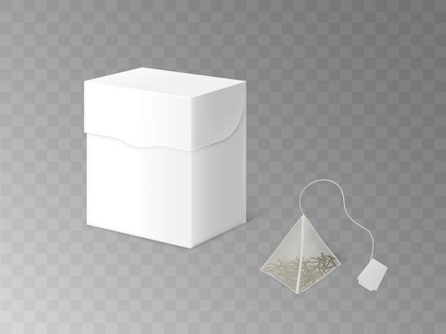 Modèle réaliste 3d modèle d'emballage de thé vert, noir ou à base de plantes Vecteur gratuit