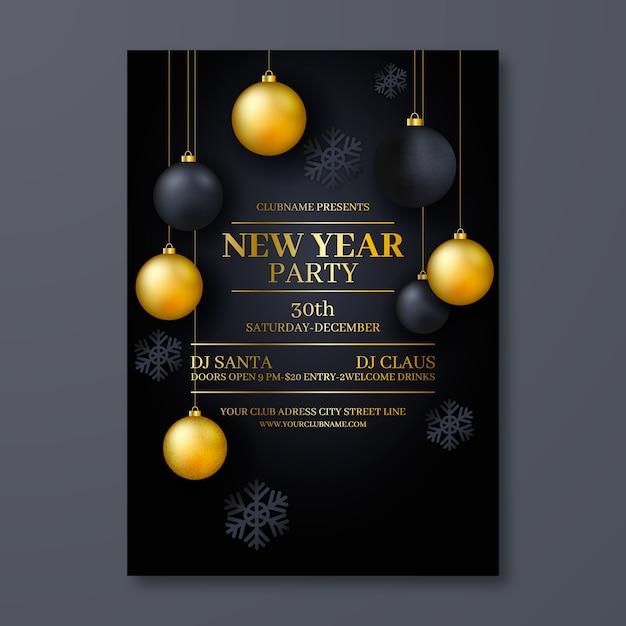 Modèle Réaliste De Flyer Party Du Nouvel An Vecteur gratuit