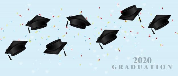 Modèle réaliste de graduation cap Vecteur Premium