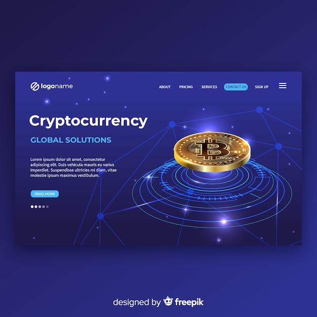 Modèle Réaliste De Page De Destination De Crypto-monnaie Vecteur gratuit