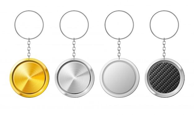 Modèle réaliste de porte-clés 3d cercle isolé en acier isolé. Vecteur Premium