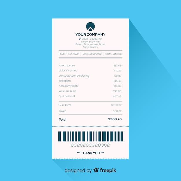 Modèle de reçu avec un design plat Vecteur gratuit