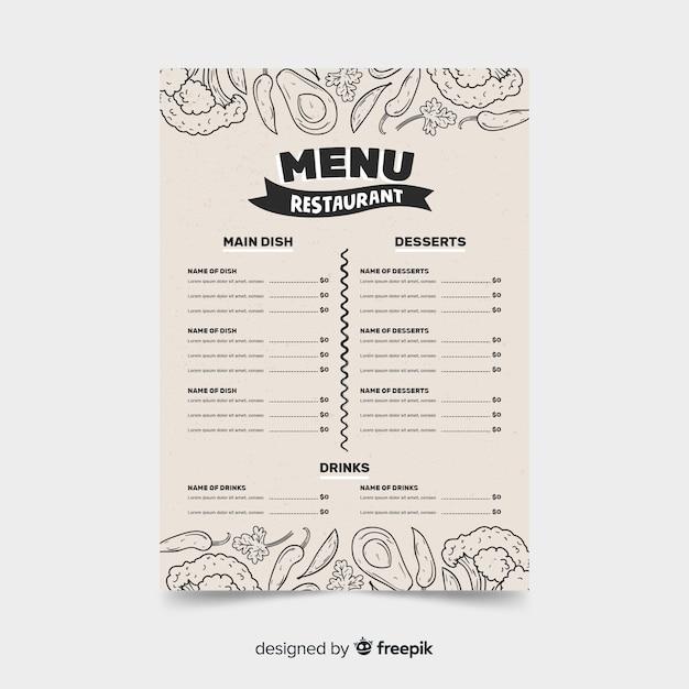 Modèle de restaurant de menu sur un style rétro avec des croquis de la nourriture Vecteur gratuit