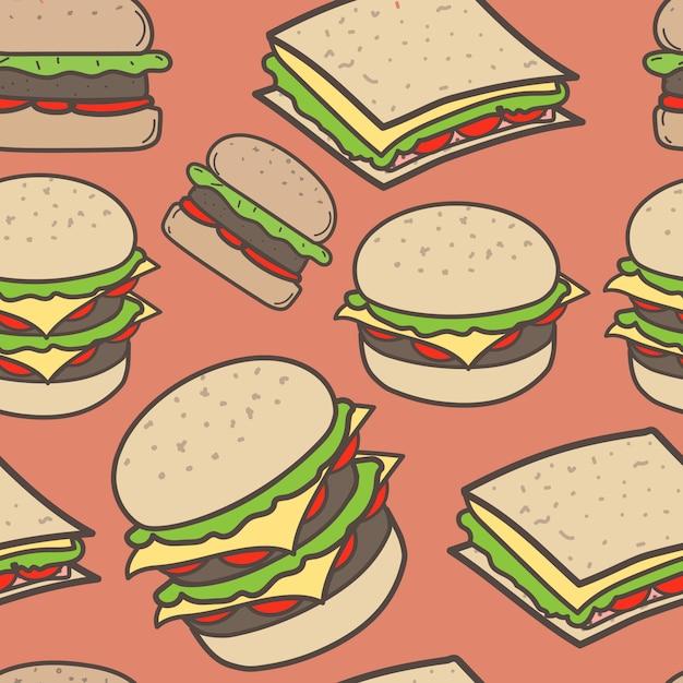 Modèle de restauration rapide et hamburgers dessinés à la main Vecteur Premium