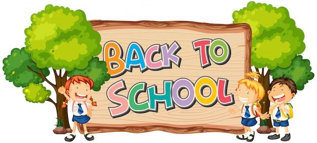 Modèle De Retour à L'école Avec L'élève Vecteur gratuit