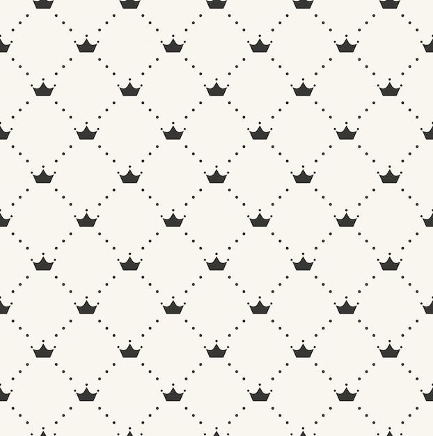 Modèle Rétro Sans Couture, Avec Des Couronnes. Peut être Utilisé Pour Le Papier Peint, Les Motifs De Remplissage, L'arrière-plan De La Page Web, Les Textures De Surface Vecteur Premium