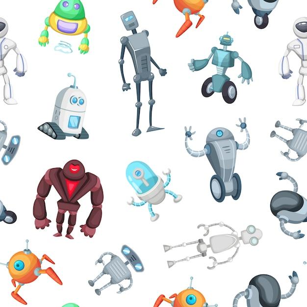 Modèle de robots de bande dessinée ou illustration Vecteur Premium