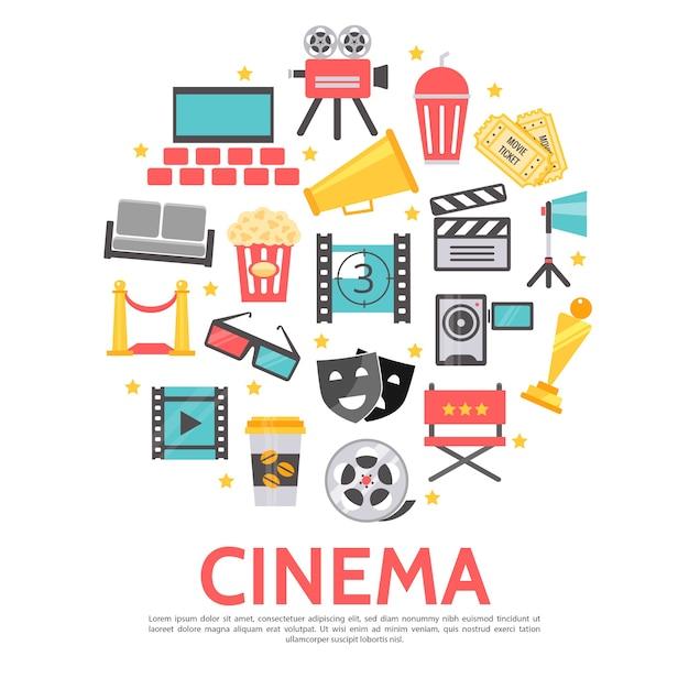 Modèle Rond D'éléments De Film Dans Un Style Plat Vecteur gratuit