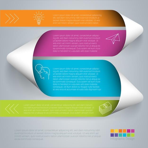 Modèle De Ruban Plié En Papier étape Par étape Infographie Couleur Arc-en-ciel. Vecteur Premium