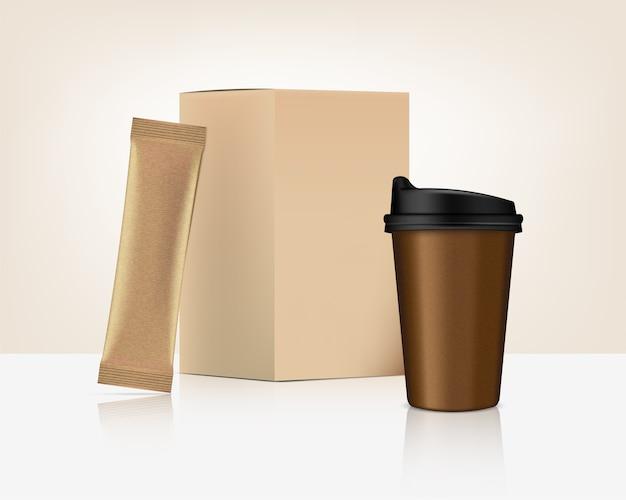Modèle De Sachet De Bâton Brillant 3d Et Tasse Avec Boîte De Papier Isolé Sur Fond Blanc. Conception De Concept D'emballage Alimentaire Et Boisson. Vecteur Premium
