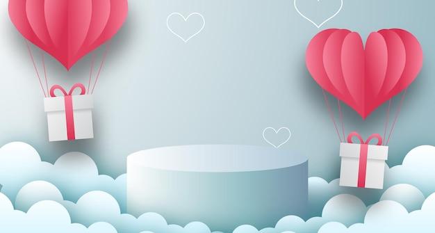 Modèle De La Saint-valentin Avec Affichage De Produit De Podium De Scène Vide Avec Fond Pastel Bleu Vecteur Premium