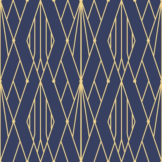 Modèle sans couture abstrait art déco bleu Vecteur Premium