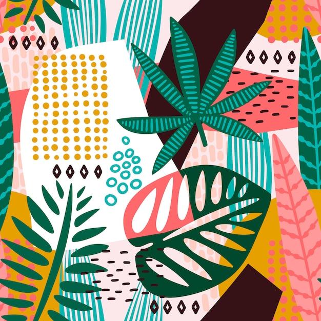 Modèle sans couture abstraite avec des feuilles tropicales. Vecteur Premium