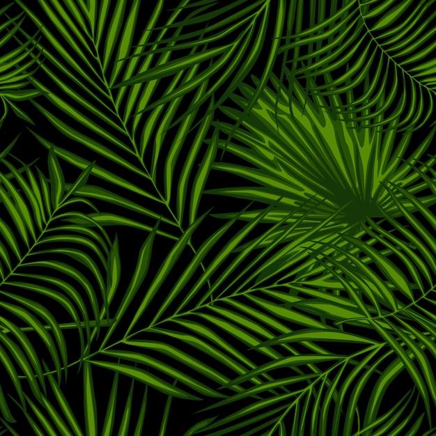 Modèle sans couture abstraite de plantes exotiques sur fond noir Vecteur Premium
