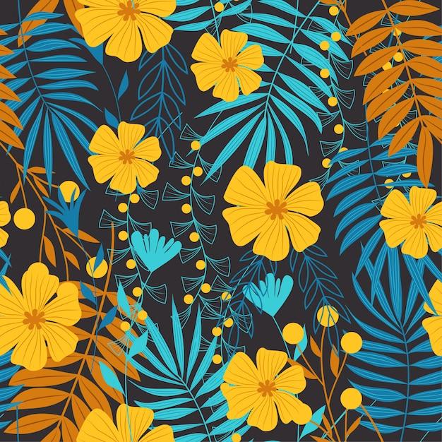 Modèle sans couture abstraite tendance été avec feuilles tropicales Vecteur Premium