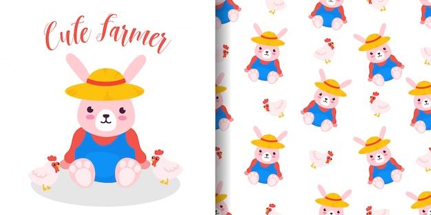 Modèle sans couture agriculteur lapin avec carte de douche de bébé illustration dessin animé Vecteur Premium