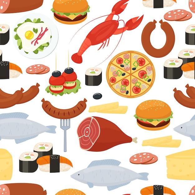 Modèle Sans Couture Alimentaire Dans Un Style Plat Avec Des Icônes Vectorielles Colorées Dispersées De Viande Rôtie Homard Sushi Poisson Saucisse Pizza Oeufs Fromage Et Salami Au Format Carré Pour Papier D'emballage Et Tissu Vecteur gratuit
