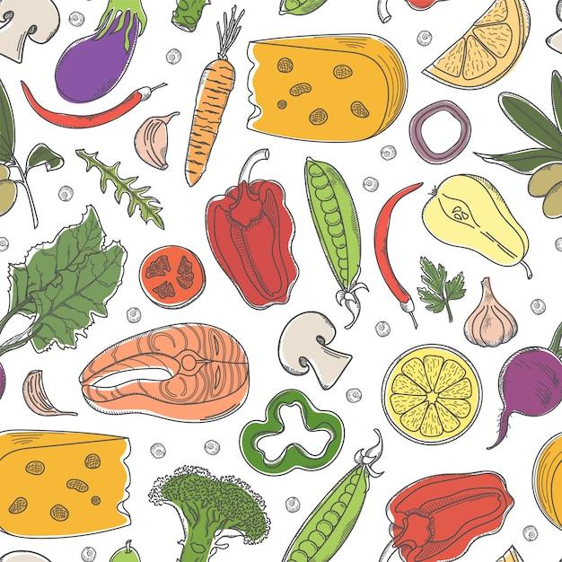 Modèle sans couture avec des aliments sains colorés. Vecteur Premium