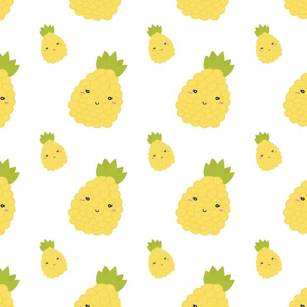 Modèle sans couture d'ananas d'été. vecteur Vecteur Premium