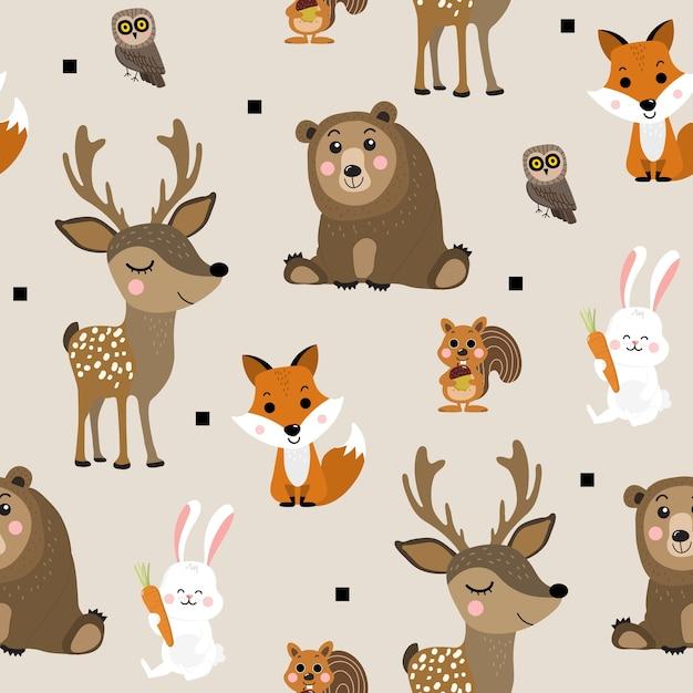 Modèle sans couture d'animal de forêt Vecteur Premium