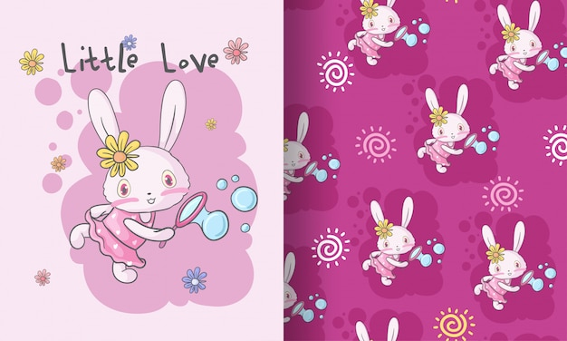 Modèle sans couture animal mignon bébé lapin heureux Vecteur Premium