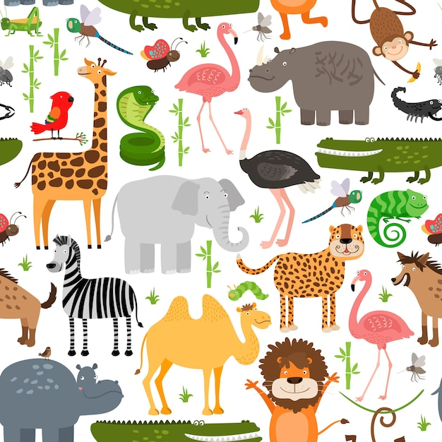 Modèle Sans Couture D'animaux De La Jungle. Vecteur gratuit