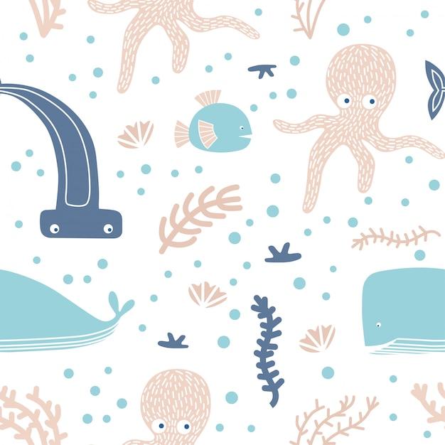 Modèle sans couture avec des animaux marins et des éléments. Vecteur Premium