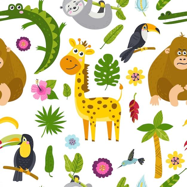 Modèle sans couture avec des animaux marrants de la jungle Vecteur Premium