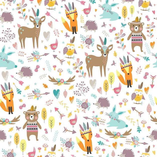 Modèle Sans Couture Avec Des Animaux Tribaux Mignons En Style Cartoon. Illustration D'amis De La Forêt, Ours, Cerf, Renard, Hérisson, écureuil, Hibou. Vecteur Premium