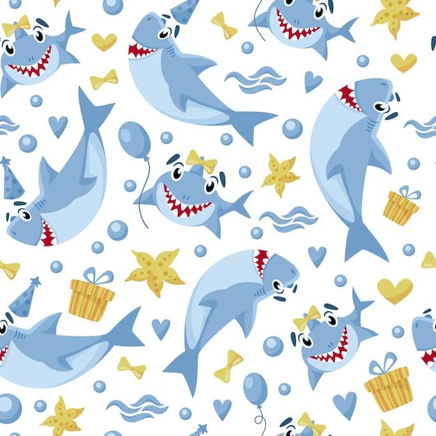 Modèle Sans Couture Anniversaire Bébé Requin Vecteur Premium