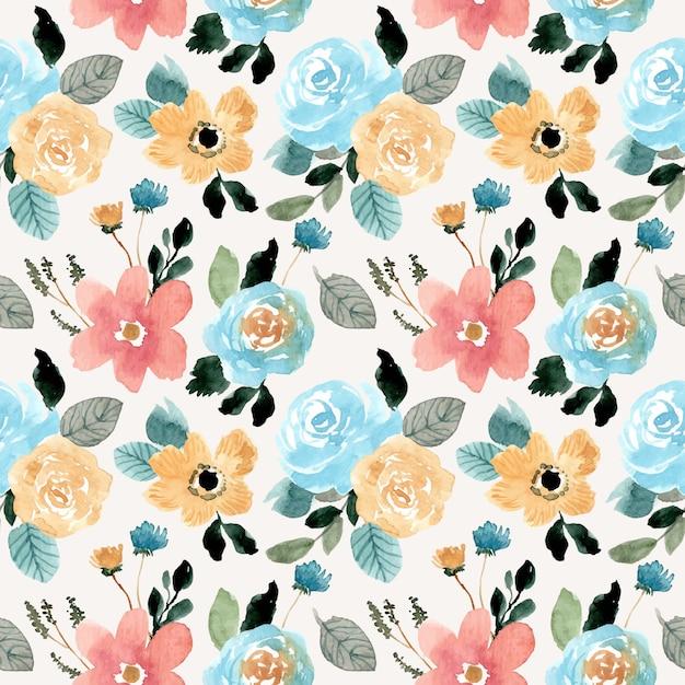 Modèle sans couture aquarelle belle fleur Vecteur Premium